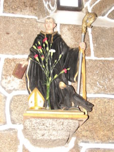 Imaxe de S. Bieito, patrón da orde beneditina,  á que pertencía o priorado de Baíñas (foto XMLS)