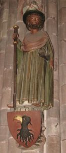 Imaxe de Santiago peregrino, no pórtico da catedral de Friburg (XMLS)