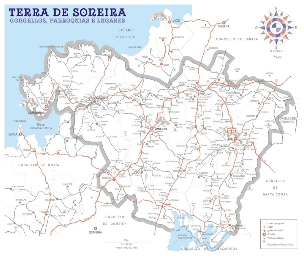 Mapa da Terra de Soneira, cos seus tres concellos, parroquias e lugares (R.Mouzo en 'A Terra de Soneira, no corazón da Costa da Morte', 2010)