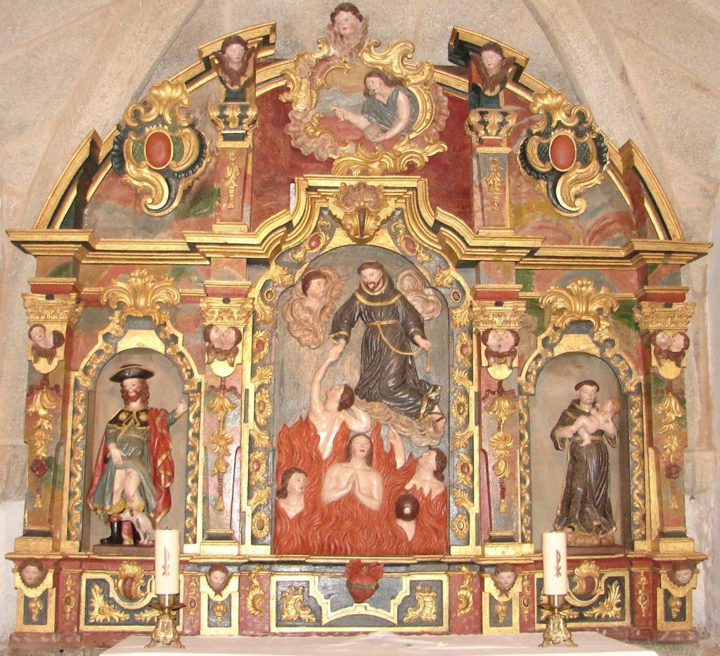 Retablo barroco das Ánimas, igrexa de Loroño. Arriba, relevo da Madalena; abaixo: san Roque, san Francisco salvando ánim,as; santo Antonio (XMLS)
